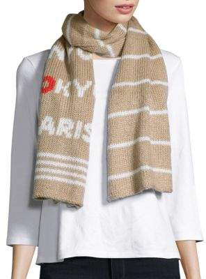 Wooden Ships Patterned Knit Scarf