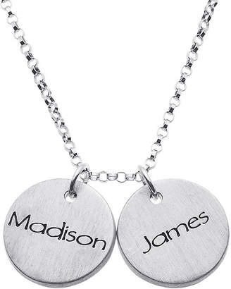 FINE JEWELRY Personalized Sterling Silver Mini Engraved Name Two Disc Pendant Necklace