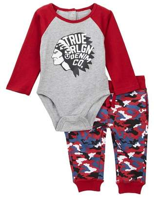 True Religion Scout Raglan Bodysuit & Jogger Set (Baby Boys)