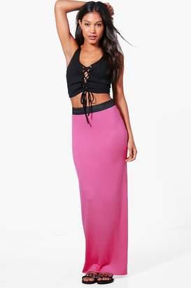 boohoo Helena Basic Contrast Waist Jersey Maxi Skirt $16 thestylecure.com