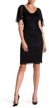 Marina Tiered Lace Cape Sheath Dress $179 thestylecure.com