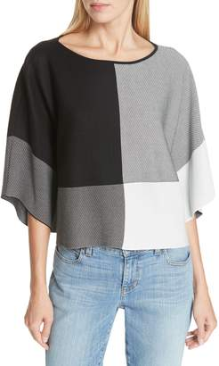 Eileen Fisher Colorblock Tencel(R) Lyocell Sweater