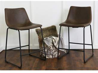 """Walker Edison 26"""" Industrial Faux Leather Counter Stools, set of 2 - Brown"""