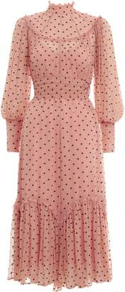 Zimmermann Espionage Swing Yoke Long Sleeve Silk Midi Dress