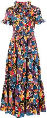 Style Stalker La Double J Tie-Waist Floral-Print Silk Dress