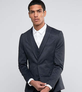 Selected Suit Jacket with Brushed Tonal Check in Skinny Fit