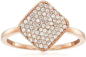 Crislu Simply Pave 18K Rose Gold Plated Sterling Silver Cubic Zirconia Square Ring