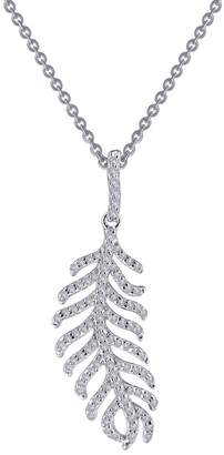 Lafonn Platinum Sterling Silver Pave Feather Necklace
