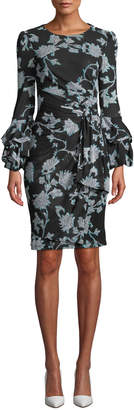 Diane von Furstenberg Faridah Printed Tie-Front Tucked-Sleeve Dress