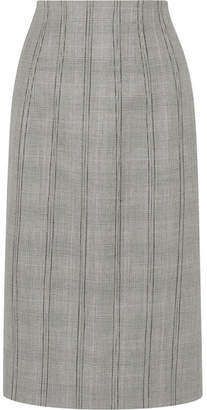 Thom Browne Lace-up Plaid Wool Pencil Skirt - Gray