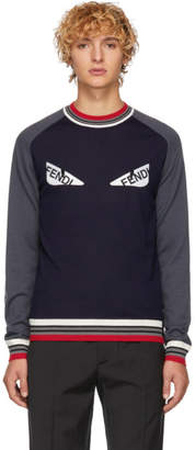 Fendi Navy and Grey Striped Bag Bugs Sweater