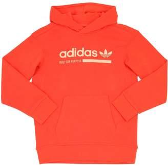 adidas Logo Print Cotton Sweatshirt Hoodie