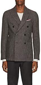 Pal Zileri MEN'S WOOL-BLEND DOUBLE-BREASTED SPORTCOAT-BROWN SIZE 42 R