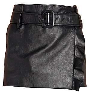 Prada Women's Leather Ruffle Mini Skirt