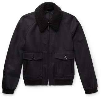 Tom Ford Cashmere and Silk-Blend Trimmed Wool-Felt Bomber Jacket