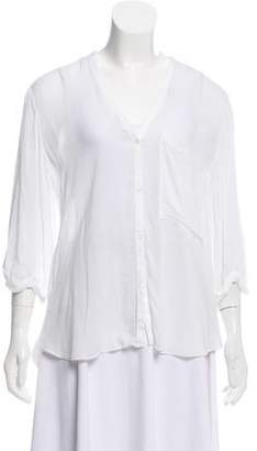 Helmut Lang Quarter Sleeve Semi-Sheer Blouse