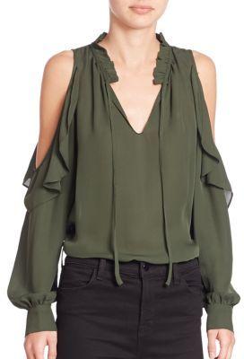 Parker Marjorie Silk Cold-Shoulder Blouse $220 thestylecure.com