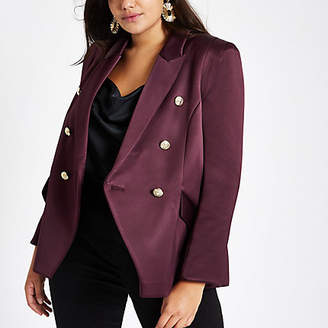 River Island Plus purple satin double breasted blazer