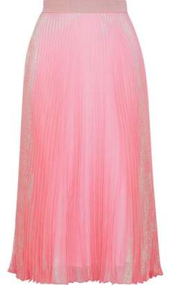 Christopher Kane Brillo Pad Pleated Silk-Blend Lamé Midi Skirt