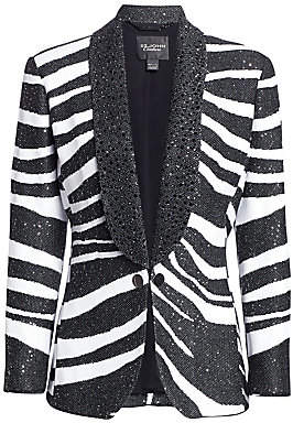 St. John Women's Jacquard Sequin Zebra Blazer Jacket