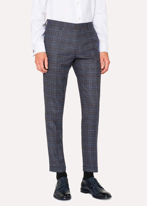 Paul Smith Men's Slim-Fit Blue Plaid Wool Pants