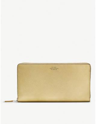 Smythson Panama metallic-leather zip travel wallet