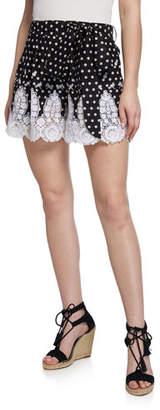 Miguelina Liana High-Waist Polka-Dot Cotton Shorts w/ Lace