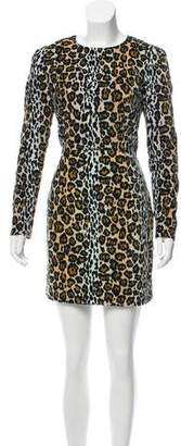 House of Holland Velvet Animal Print Dress