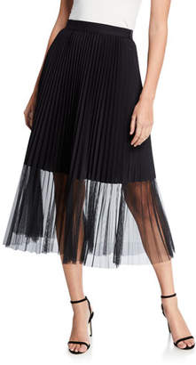 Elie Tahari Yanet Pleated Midi Skirt with Sheer Overlay