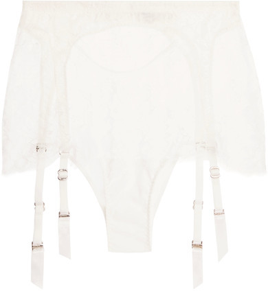 Agent Provocateur Agent Provocateur - Ismeralda Leavers Lace And Stretch-tulle Suspender Belt Briefs - White