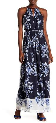 Vince Camuto Pleated Chiffon Halter Maxi Print Dress
