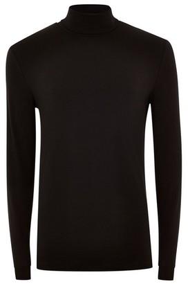 Topman Mens Black Roll Neck T-Shirt