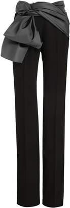 Carolina Herrera Satin-Trimmed Crepe Straight-Leg Pants