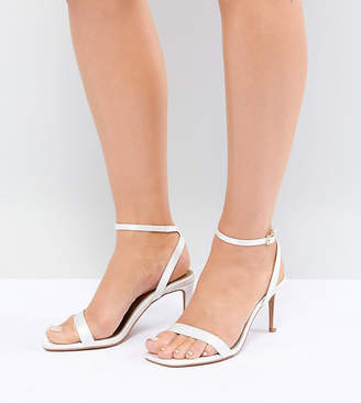 Asos Design Half Time Wide Fit Bridal Barely There Heeled Sandals