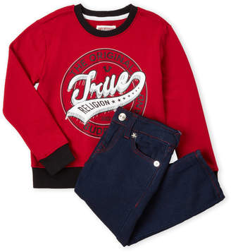 True Religion Toddler Boys) Two-Piece Pullover Sweatshirt & Jeans Set
