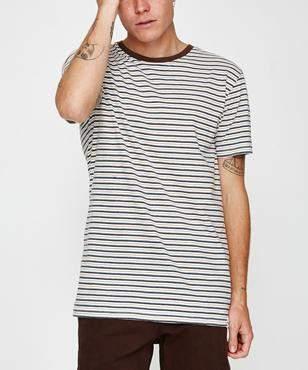 rhythm Everyday Stripe T-Shirt Classic Brown