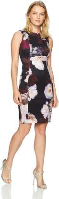 Calvin Klein Women's Petite Floral Printed Seamed Dress