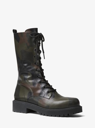 Michael Kors Brenna Camo Calf Leather Combat Boot