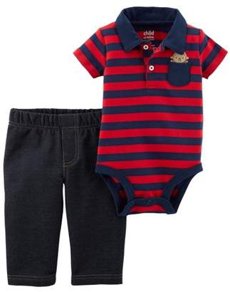 Carter's Child of Mine by Baby Boy Short Sleeve Collared Bodysuit & Pants, 2pc Outfit Set
