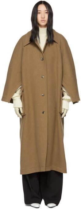 Tan Open Raglan Sleeve Coat