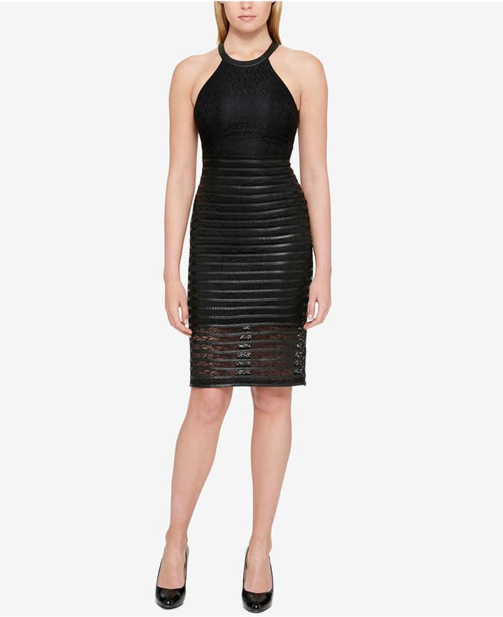 Guess Lace & Faux-Leather Halter Dress