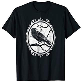 Gothic Raven in Victorian Style Frame Halloween T-Shirt