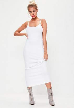 Missguided Ribbed Strappy Midi Dress