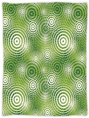 Hunter oobon Super Soft Throw Blanket Custom Design Cozy Fleece Blanket,Abstract,Circular Round Shaped Inner Geometric Eco Wavelength Illustration,Lime and Green White,Perfect for Couch Sofa Or Bed