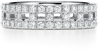 Tiffany & Co. & Co. T True wide ring in 18k white gold with pave diamonds, 5.5 mm wide - Size 4.5