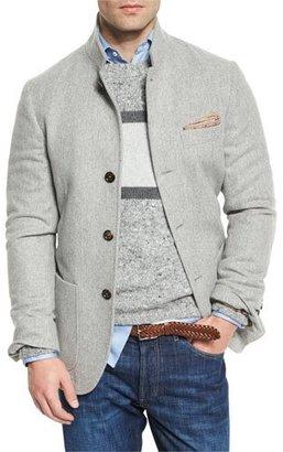 Brunello Cucinelli Cashmere Hybrid Sport Jacket, Gray $4,495 thestylecure.com