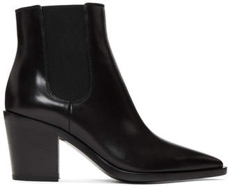 Gianvito Rossi Black Pointed Toe Ankle Boots