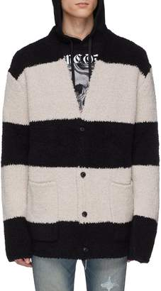 Amiri Patch pocket stripe bouclé knit cardigan