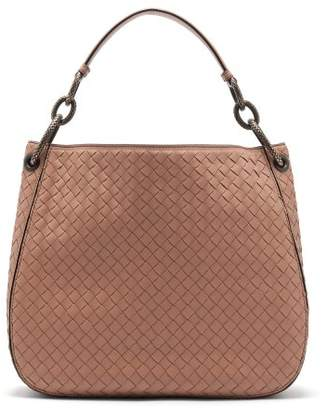 Bottega Veneta Loop Small Intrecciato Leather Shoulder Bag - Womens - Nude
