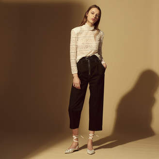 Sandro Zipped cotton trousers with belt